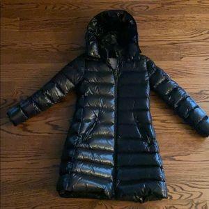 Moncler Girls Long Puffer Coat size 10 Black